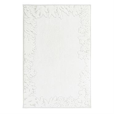 Tapis de bain en velours dévoré beige et écru motifs feuillages 50x80