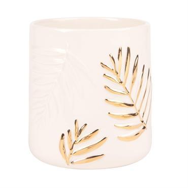 Cache-pot en faïence blanche à relief feuilles de palmiers H15