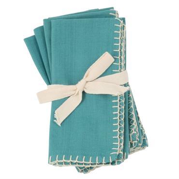 Serviettes en coton bio bleu clair 40x40