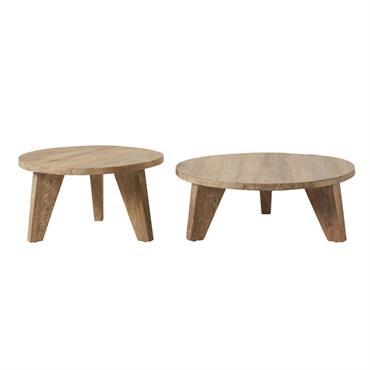 Tables gigognes rondes en orme Nikos
