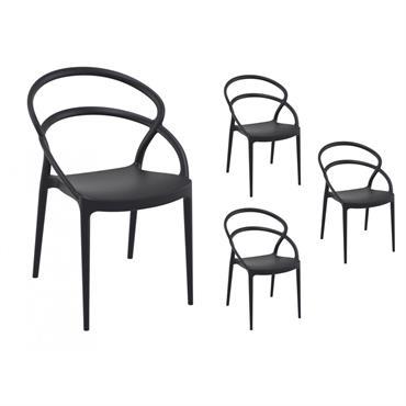 Lot de 4 chaises noires intérieur/extérieur
