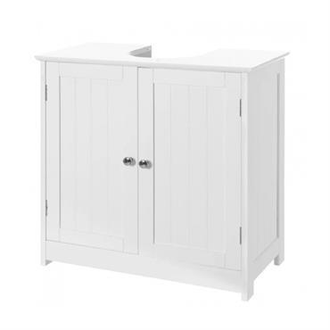 Meuble de salle de bain sous lavabo en bois blanc 2 portes