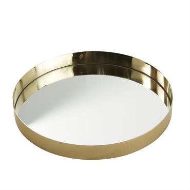 Plateau en verre et métal doré