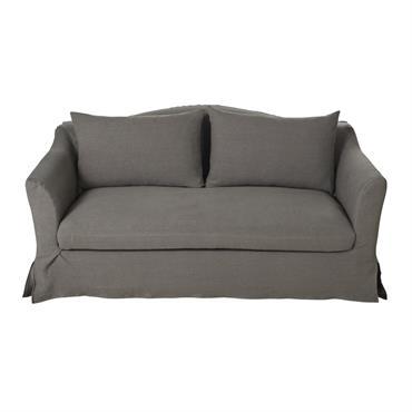 Canapé-lit 2 places en lin épais gris