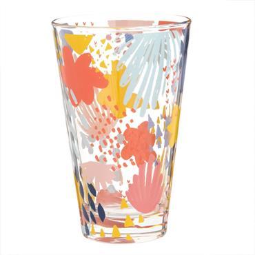 Chope en verre motif floral multicolore