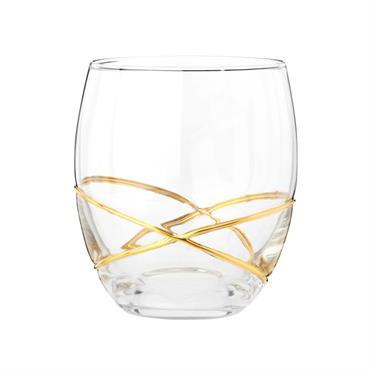 Gobelet en verre à spirales et liseré dorés
