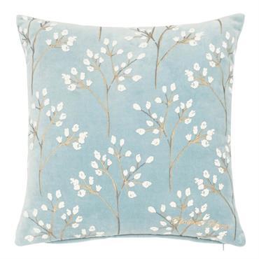 Housse de coussin en coton bleu motifs brindilles 40x40