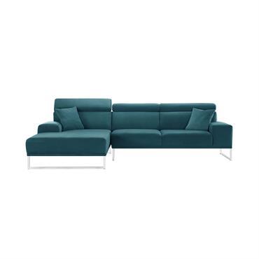 Canapé d'angle gauche 5 places en velours bleu turquoise