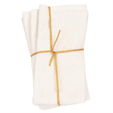 Serviettes en coton blanc motif feuillage doré 40x40