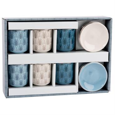 Coffret 6 tasses et soucoupes en porcelaine tricolore motifs graphiques