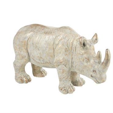 Statue rhinocéros grise et dorée H53