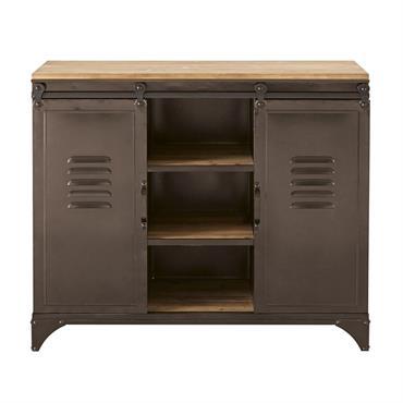 Comment ne pas craquer pour le buffet 2 portes en métal et sapin WAYNE, qui combine harmonieusement 2 matériaux : le bois et le métal. Caractère et design authentique : ...
