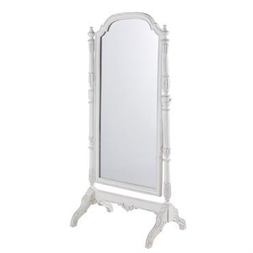 Miroir psyché en manguier blanc à moulures 83x169