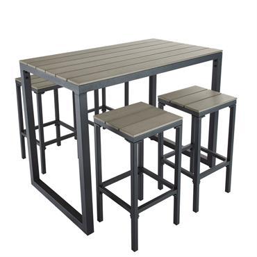 Jouez la carte de l'originalité avec la table de jardin haute avec 4 tabourets L128 ESCALE ! Plus moderne et tout aussi conviviale qu'une table de jardin classique, elle apportera ...