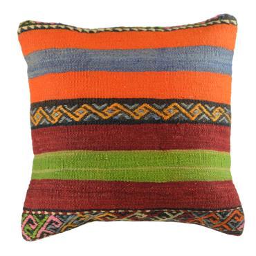 Housse de coussin en kilim réalisée à partir de tapis d'Anatolie.  Domozoom