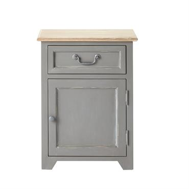 Table de chevet 1 porte 1 tiroir en pin gris Honorine