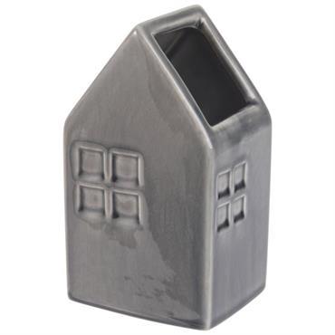 Vase maison en céramique gris anthracite H16