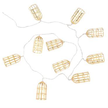 Guirlande lumineuse cages en métal doré