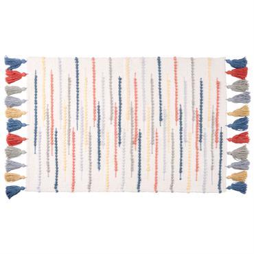 Tapis en coton blanc motifs à rayures multicolores 60x90