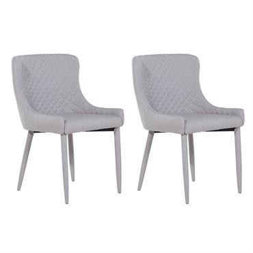 Lot de 2 chaises en tissu gris clair