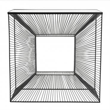 Console métal plateau verre