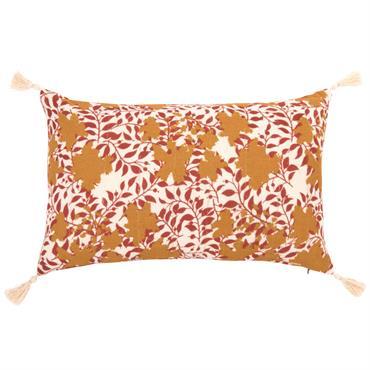Housse de coussin en coton écru imprimé floral rouge et doré 50x30