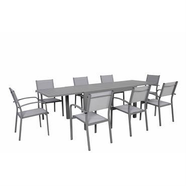 Ensemble de jardin 8 places extensible en aluminium gris