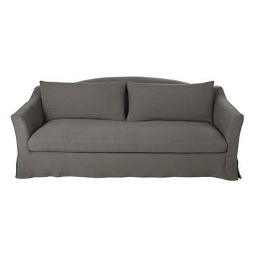 Canapé 3/4 places en lin épais gris Anaelle