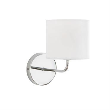 Applique en métal chromé abat-jour en tissu blanc