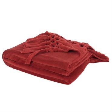 Plaid à franges rouge 130x170