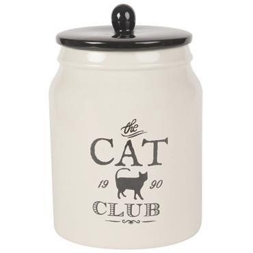 Pot avec couvercle pour chat en faïence blanche imprimé noir