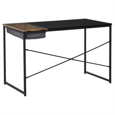 Bureau industriel châssis métal noir plateau bicolore noir et boisé