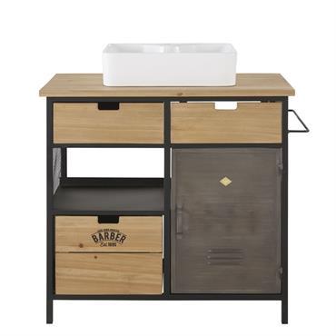 Quand l'esprit vintage rencontre la tendance industrielle, on ne peut que valider comme le démontre le meuble vasque 3 tiroirs 1 porte en sapin et métal HARVEY . Pile dans ...