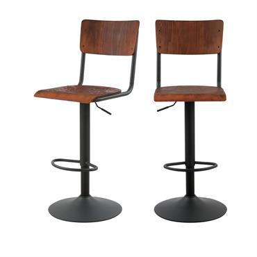 Chaise de bar réglable 60/80 cm en bois foncé