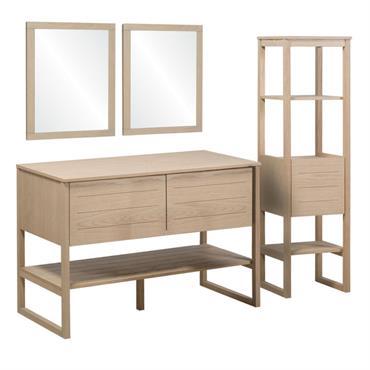 Meuble de salle de bain avec colonne et miroirs effet bois clair