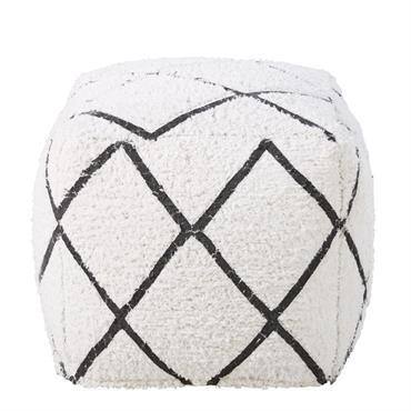 Pouf en coton blanc motifs graphiques noirs