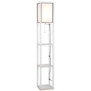 Lampadaire étagère H160 cm 3 étagères 4 niveaux blanc