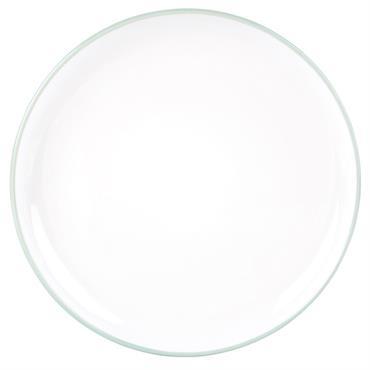 Assiette plate en faïence blanche et bleue