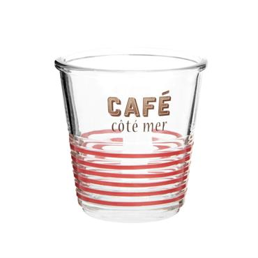 Verre à café en verre imprimé rouge et noir