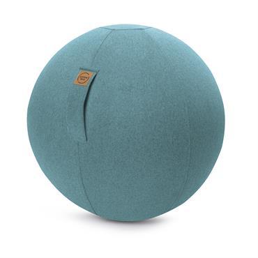 Balle d'assise aspect feutrine turquoise avec poignée polyester D65