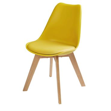 Chaise style scandinave jaune moutarde et chêne massif Ice