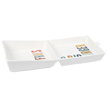 Plat à burger en porcelaine blanche imprimé multicolore