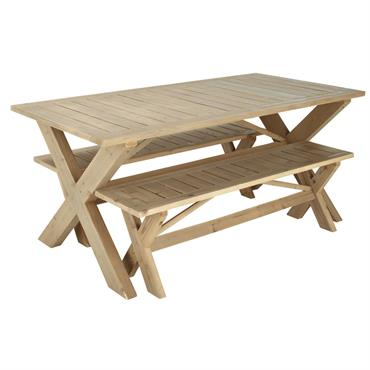Table de jardin avec 2 bancs en sapin L150 Lacanau