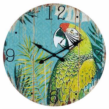 UN STYLE COLORÉ Tapissez vos murs de couleurs chatoyantes avec cette horloge imprimée perroquet RIO ! UN RENDEZ-VOUS EXOTIQUE Parfaite pour réchauffer une décoration simple, elle apportera une touche d'exotisme ...