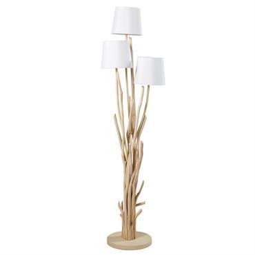 Lampadaire en bois flotté et abat-jour blanc H159