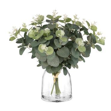 Eucalyptus artificiel et pot en verre