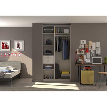 Placard-dressing avec penderie, étagères et tiroir pour chambre d'adolescent. Pour une chambre d'adolescent bien rangée.  Domozoom