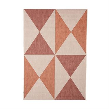 Tapis géométrique scandinave en polypropylène rouge 135x190