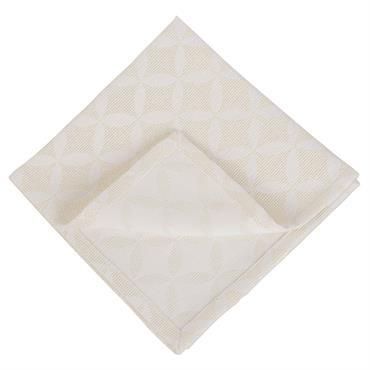 4 serviettes en tissu écru motifs jacquard dorés 40x40