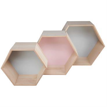 3 étagères murales héxagonales